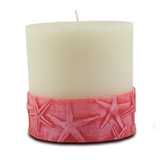 Mandara Spa 3 inch Starfish Pillar Ivory & Dusty Rose Candle