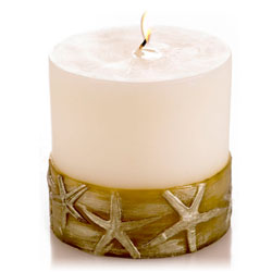 Mandara Spa 3 inch Starfish Pillar Ivory & Antique Green Candle