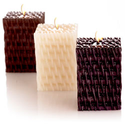 Mandara Spa 3 inch Rattan Mini Cube Candles