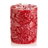 Mandara Spa  4 inch Poinsettia Pillar Candle