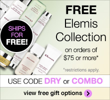 Free skincare collection with purchase of $75 or more. Use promo code COMBO or DRY.