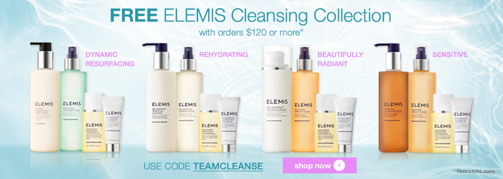 free elemis cleansing collection with orders over $120 at timetospa.com offer