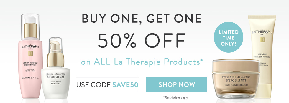 buy one la therapie product and get one 50% off at timetospa.com