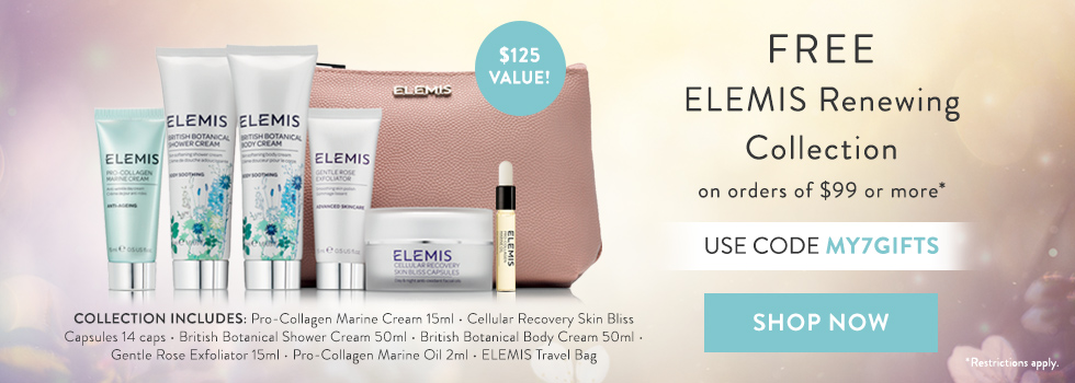 free elemis pro-collagen and pro-radiance collection with $99 spend at timetospa.com