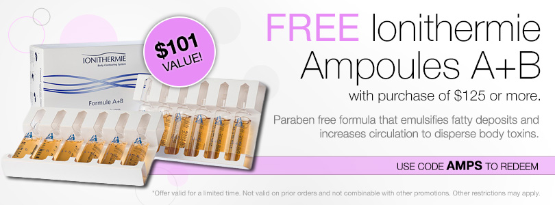 Free Ionithermie Ampoules A+B with purchase of $125 or more. Use code AMPS to redeem.
