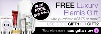 timetospa Special Promotions - Free luxury Elemis gift & free shipping on orders of $75 or more.