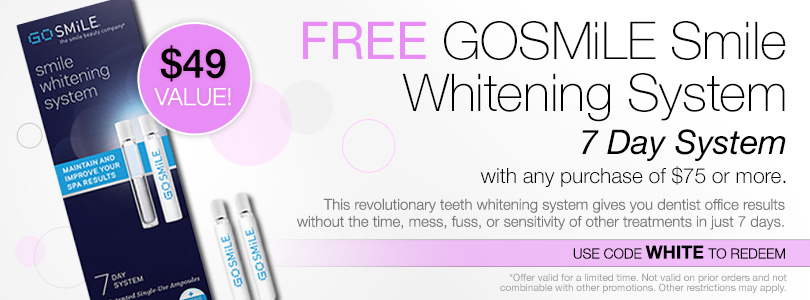 Free GOSMiLE 7 Day Whitening System with purchase of $75 or more. Use code WHITE