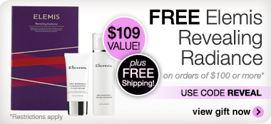 Free luxury Elemis gift with purchase of $100 or more. Use code REVEAL